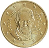 obverse of 10 Euro Cent - Francis (2014 - 2015) coin with KM# 458 from Vatican City. Inscription: CITA' DEL VATICANO R 2014 O.ROSSI LDS INC.