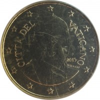 obverse of 50 Euro Cent - Francis (2014 - 2015) coin with KM# 460 from Vatican City. Inscription: CITA' DEL VATICANO R 2015 LDS INC. O.ROSSI