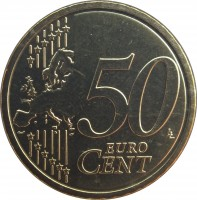 reverse of 50 Euro Cent - Francis (2014 - 2015) coin with KM# 460 from Vatican City. Inscription: 50 LL EURO CENT