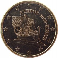 obverse of 10 Euro Cent (2008 - 2016) coin with KM# 81 from Cyprus. Inscription: ΚΥΠΡΟΣ · 2009 · KIBRIS