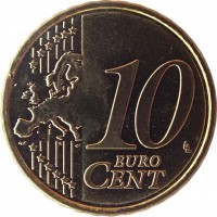 reverse of 10 Euro Cent (2008 - 2016) coin with KM# 81 from Cyprus. Inscription: 10 EURO CENT LL