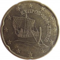 obverse of 20 Euro Cent (2008 - 2016) coin with KM# 82 from Cyprus. Inscription: ΚΥΠΡΟΣ · 2008 · KIBRIS