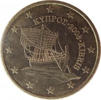obverse of 50 Euro Cent (2008 - 2016) coin with KM# 83 from Cyprus. Inscription: ΚΥΠΡΟΣ · 2008 · KIBRIS