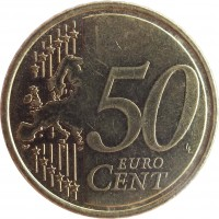 reverse of 50 Euro Cent (2008 - 2016) coin with KM# 83 from Cyprus. Inscription: 50 EURO CENT LL