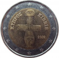 obverse of 2 Euro (2008 - 2016) coin with KM# 85 from Cyprus. Inscription: ΚΥΠΡΟΣ KIBRIS 2009