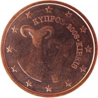 obverse of 2 Euro Cent (2008 - 2016) coin with KM# 79 from Cyprus. Inscription: ΚΥΠΡΟΣ · 2008 · KIBRIS