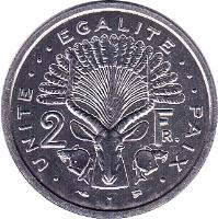 reverse of 2 Francs (1977 - 1999) coin with KM# 21 from Djibouti. Inscription: . UNITE ... EGALITE ... PAIX . 2 FR