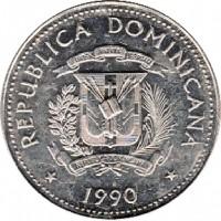 obverse of 25 Centavos (1989 - 1991) coin with KM# 71 from Dominican Republic. Inscription: REPUBLICA DOMINICANA DIOS PATRIA LIBERTAD REPUBLICA DOMINICANA * 1990 *