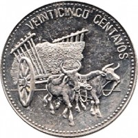 reverse of 25 Centavos (1989 - 1991) coin with KM# 71 from Dominican Republic. Inscription: VEINTICINCO CENTAVOS