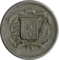 obverse of 10 Centavos (1978 - 1981) coin with KM# 50 from Dominican Republic. Inscription: DIOS PATRIA LIBERTAD REPUBLICA DOMINICANA