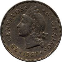 reverse of 25 Centavos (1967 - 1974) coin with KM# 20a from Dominican Republic. Inscription: * 25 CENTAVOS * 6 1/4 GRAMOS *