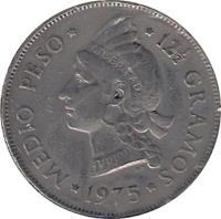 reverse of 1/2 Peso (1967 - 1975) coin with KM# 21a from Dominican Republic. Inscription: .MEDIO PESO. .12 1/2 GRAMOS. 1967