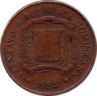 obverse of 1 Centavo (1984 - 1987) coin with KM# 64 from Dominican Republic. Inscription: 1 CENTAVO.REPUBLICA DOMINICANA.1986