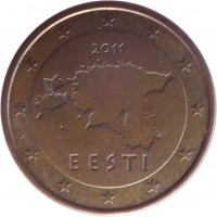 obverse of 5 Euro Cent (2011) coin with KM# 63 from Estonia. Inscription: 2011 EESTI