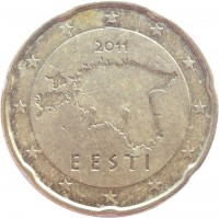 obverse of 20 Euro Cent - 2'nd Map (2011) coin with KM# 65 from Estonia. Inscription: 2011 EESTI