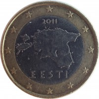 obverse of 1 Euro - 2'nd Map (2011) coin with KM# 67 from Estonia. Inscription: 2011 EESTI