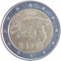 obverse of 2 Euro - 2'nd Map (2011) coin with KM# 68 from Estonia. Inscription: 2011 EESTI