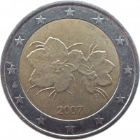 obverse of 2 Euro - 2'nd Map (2006 - 2015) coin with KM# 130 from Finland. Inscription: 2007 FI