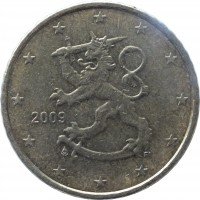 obverse of 50 Euro Cent - 2'nd Map (2007 - 2015) coin with KM# 128 from Finland. Inscription: 2009 FI