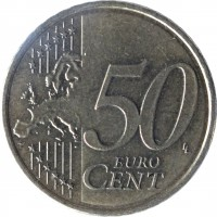reverse of 50 Euro Cent - 2'nd Map (2007 - 2015) coin with KM# 128 from Finland. Inscription: 50 EURO CENT LL
