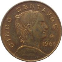 reverse of 5 Centavos - Larger (1954 - 1969) coin with KM# 426 from Mexico. Inscription: CINCO CENTAVOS 1966