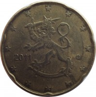 obverse of 20 Euro Cent - 2'nd Map (2007 - 2015) coin with KM# 127 from Finland. Inscription: 2011 FI