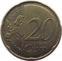 reverse of 20 Euro Cent - 2'nd Map (2007 - 2015) coin with KM# 127 from Finland. Inscription: 20 EURO CENT LL