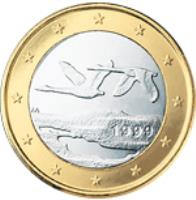 obverse of 1 Euro - 2'nd Map (2007 - 2015) coin with KM# 129 from Finland. Inscription: FI 2010