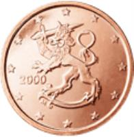 obverse of 2 Euro Cent (1999 - 2014) coin with KM# 99 from Finland. Inscription: 2000 M