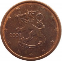 obverse of 5 Euro Cent (1999 - 2014) coin with KM# 100 from Finland. Inscription: 2000 M
