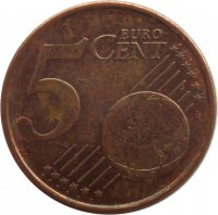 reverse of 5 Euro Cent (1999 - 2014) coin with KM# 100 from Finland. Inscription: 5 EURO CENT LL