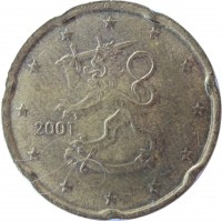 obverse of 20 Euro Cent - 1'st Map (1999 - 2006) coin with KM# 102 from Finland. Inscription: 2001 M