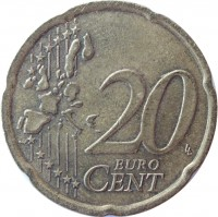 reverse of 20 Euro Cent - 1'st Map (1999 - 2006) coin with KM# 102 from Finland. Inscription: 20 EURO CENT LL