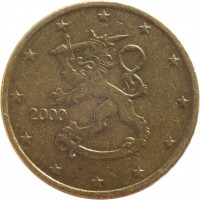 obverse of 50 Euro Cent - 1'st Map (1999 - 2006) coin with KM# 103 from Finland. Inscription: 2000 M