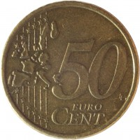 reverse of 50 Euro Cent - 1'st Map (1999 - 2006) coin with KM# 103 from Finland. Inscription: 50 EURO CENT LL