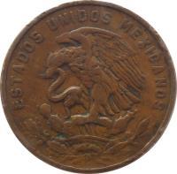obverse of 20 Centavos - Type 2 National Arms (1955 - 1971) coin with KM# 440 from Mexico. Inscription: ESTADOS UNIDOS MEXICANOS