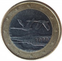 obverse of 1 Euro - 1'st Map (1999 - 2006) coin with KM# 104 from Finland. Inscription: M 1999