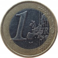 reverse of 1 Euro - 1'st Map (1999 - 2006) coin with KM# 104 from Finland. Inscription: 1 EURO LL