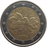 obverse of 2 Euro - 1'st Map (1999 - 2006) coin with KM# 105 from Finland. Inscription: 1999 M