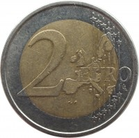 reverse of 2 Euro - 1'st Map (1999 - 2006) coin with KM# 105 from Finland. Inscription: 2 EURO LL