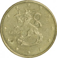 obverse of 10 Euro Cent - 1'st Map (1999 - 2006) coin with KM# 101 from Finland. Inscription: 1999 M