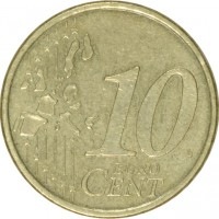 reverse of 10 Euro Cent - 1'st Map (1999 - 2006) coin with KM# 101 from Finland. Inscription: 10 EURO CENT LL