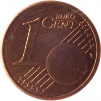 reverse of 1 Euro Cent (2002 - 2015) coin with KM# 32 from Ireland. Inscription: 1 EURO CENT LL