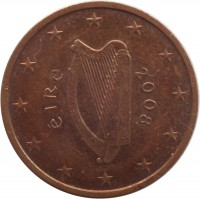 obverse of 2 Euro Cent (2002 - 2015) coin with KM# 33 from Ireland. Inscription: éIRe 2008