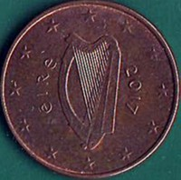 obverse of 5 Euro Cent (2002 - 2015) coin with KM# 34 from Ireland. Inscription: éIRe 2002