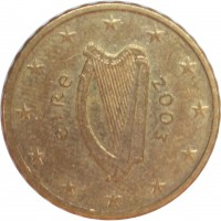 obverse of 10 Euro Cent - 1'st Map (2002 - 2006) coin with KM# 35 from Ireland. Inscription: éIRe 2003