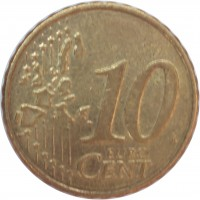 reverse of 10 Euro Cent - 1'st Map (2002 - 2006) coin with KM# 35 from Ireland. Inscription: 10 EURO CENT LL