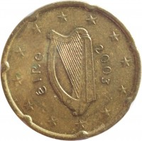 obverse of 20 Euro Cent - 1'st Map (2002 - 2006) coin with KM# 36 from Ireland. Inscription: éIRe 2003
