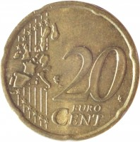 reverse of 20 Euro Cent - 1'st Map (2002 - 2006) coin with KM# 36 from Ireland. Inscription: 20 EURO CENT LL