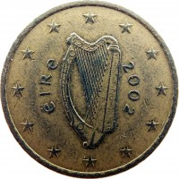 obverse of 50 Euro Cent - 1'st Map (2002 - 2006) coin with KM# 37 from Ireland. Inscription: éIRe 2002
